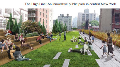 The High Line is an innovative public park built on a disused elevated railway line in New York City.