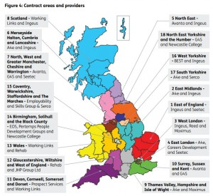 The current Work Programme approach divides the UK into regions.