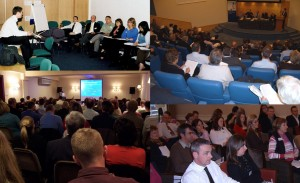Clockwise from top left: SURF Open Forum events in Kilwinning, Edinburgh, Inverness and Stirling