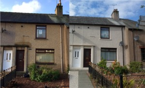A long-term empty home in Falkirk (l) brought back into use (r)