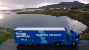 The Screen Machine mobile cinema serves remote communities such as Lochmaddy in North Uist